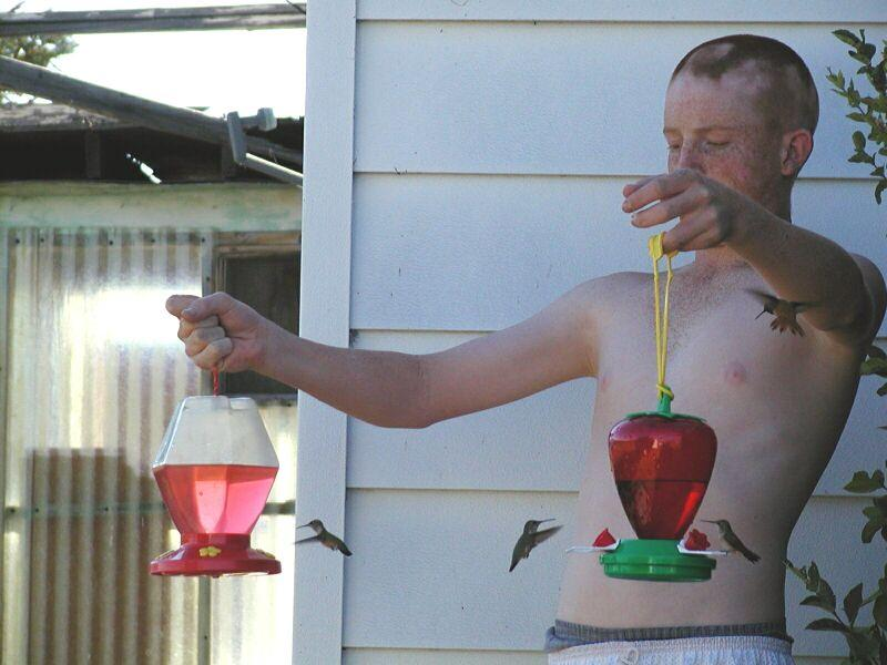 Photograph of a shirtless man holding two hummingbird feeders while hummingbirds fly around him