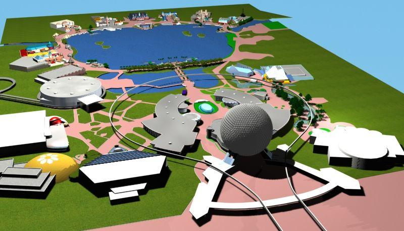 Photograph of a model version of the Epcot theme park at Walt Disney World